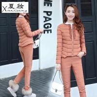 夏妆冬季新款女装时尚短款棉衣棉裤加厚保暖修身羽绒两件套装