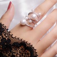 珍珠戒指女食指网红时尚装饰日韩潮人学生个性夸张指环潮韩国饰品