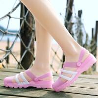 夏新款凉鞋女学生韩版百搭防滑平底厚底包头塑料凉鞋洞洞鞋女