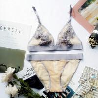 内衣女无钢圈透明欧美性感蕾丝法式情趣大胸显小无痕文胸套装