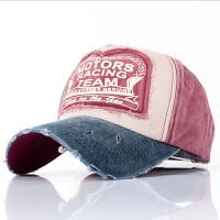 韩版磨边做旧字母棒球帽经典贴布拼色鸭舌帽男女户外休闲遮阳帽