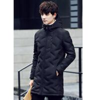 羽绒服男中长款修身加厚时尚休闲青年羽绒衣冬季男士保暖羽绒外套 黑色