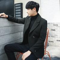 秋冬男士韩版修身毛呢外套韩版双排扣毛呢风衣短款毛呢外套