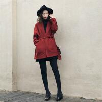 呢大衣女加厚红色呢大衣女中长款2018冬装新款小个子茧型毛呢外套宽松系带大衣 红色 S 115斤以下