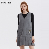 Five Plus女装毛呢无袖连衣裙女V领百褶背心裙刺绣徽章学院