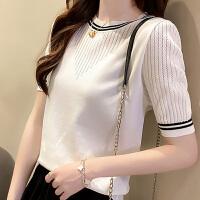俏依惠T恤衫新款韩版气质薄款缕空短袖洋气修身针织衫上衣女