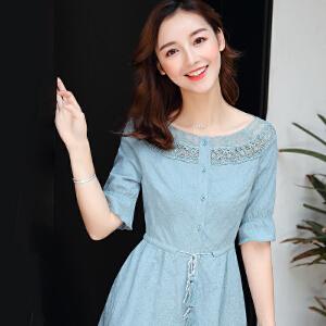 一字领蕾丝高腰连衣裙女夏装2018新款纯棉流苏气质少女裙子