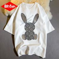 Lee Cooper 【时尚兔子烫钻工艺】新款夏季女装上衣服全棉宽松短袖女式t恤