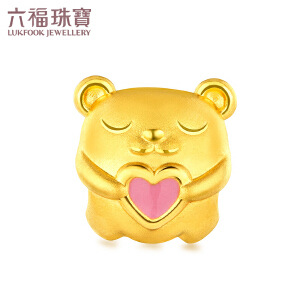 六福珠宝 zing 甜心 小熊珐琅 黄金串珠足金串珠手绳定价L01A1TBP0035