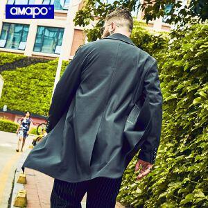 【限时抢购到手价:219元】AMAPO潮牌大码男装秋季胖子加肥加大码宽松中长款嘻哈风衣外套男