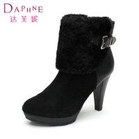 达芙妮女鞋 冬季靴子 时尚高跟短靴1014607142