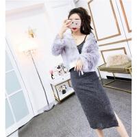 外套女秋冬季新款韩版时尚气质宽松百搭仿皮草加厚拼接pu皮短大衣