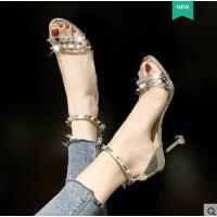 抖音同款新款凉鞋女潮高跟防水台细跟百搭性感时尚露趾女鞋