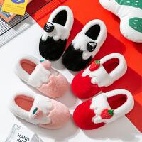 小孩儿童棉拖鞋女童包跟亲子水果棉拖鞋红色厚底棉拖