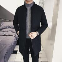 冬季外套男韩版修身潮中长款棉衣加厚棉袄青年立领男士上衣棉 黑色 M