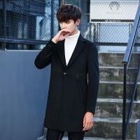 秋冬季男士风衣外套中长款连帽毛呢大衣潮流青年休闲外衣 黑色 M