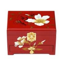 首饰珠宝箱复古平遥推光漆器首饰盒木质带锁梳妆盒结婚新娘