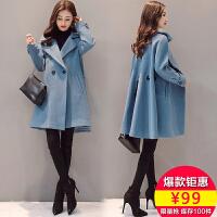 【热卖人气爆款】毛呢外套女中长款2017秋冬季新款韩版宽松显瘦呢子大衣外套