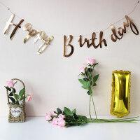 烫金生日拉旗宝宝周岁生日快乐字母拉花横幅装饰派对布置条幅 亮金色 生日拉旗