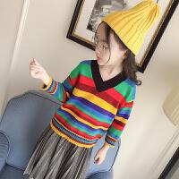 女童2018冬季新款彩色条纹V领毛衣彩虹套头长袖针织衫