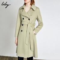 Lily2019冬新款女装羊毛双排扣双面呢收腰系带大衣毛呢外套1E15