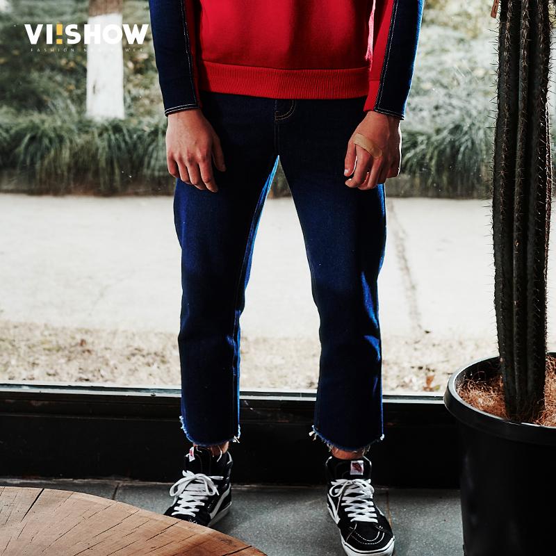 viishow春装新款男士牛仔长裤青少年休闲潮裤子男生须边裤满199减20/满299减30/满499减60 全场包邮