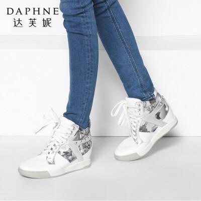Daphne/达芙妮专柜女靴 冬季时尚系带女鞋 内增高坡跟高帮鞋短靴年末清仓,售罄不补货!