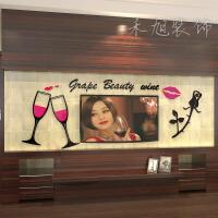 爱情红酒杯3d水晶立体墙贴浪漫婚房床头餐厅亚克力玫瑰背景装饰墙