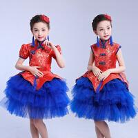 儿童演出服蓝色礼服蓬蓬裙旗袍喜庆中国风走秀主持人合唱表演服女