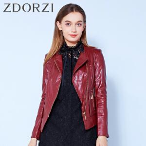zdorzi卓多姿修身气质拉链皮衣夹克短外套女832656