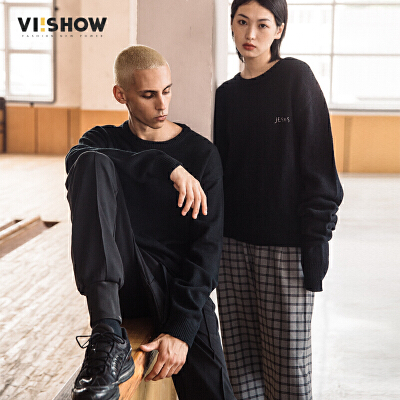 VIISHOW2018春季新款针织衫男 情侣装纯色韩版潮流毛衣圆领外套