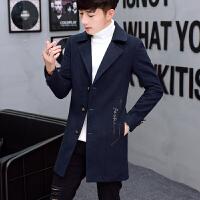 男士帅气中长款风衣男青年春秋冬季韩版毛呢大衣潮流学生妮子外套