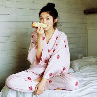 日式和服女睡衣春秋纯棉纱布家居服夏儿童亲子套装
