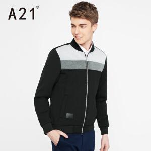以纯A21男装修身棒球领夹克 时尚个性拼色青年舒适男士2017休闲外套