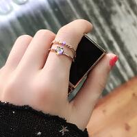 潮人闪钻爱心开口关节食指戒指女日韩学生chic极简网红个性指环