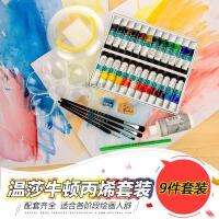 英国温莎牛顿丙烯颜料组合套装 18色24色手绘墙绘防水丙烯画颜料