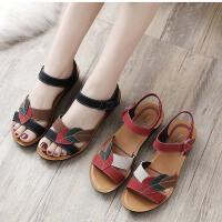 妈妈鞋凉鞋女鞋夏季平底中年软底妇女中老年奶奶老人舒适