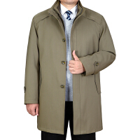 男士秋冬季新款加厚风衣中长款商务休闲外套中年男装大码立领风衣