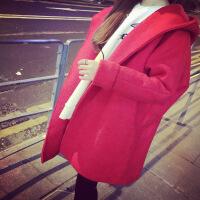韩观宽松中长款双面绒羊绒大衣呢子外套女秋冬季毛呢大衣韩国冬天女装 均码