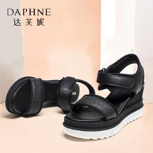 Daphne/达芙妮vivifleurs夏季凉鞋厚底粗跟时尚休闲鞋