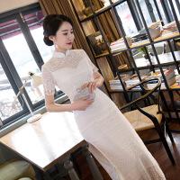 蕾丝旗袍长款秋冬日常新款修身复古改良七分袖中袖连衣裙年会少女 貌美如花白