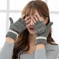 毛线手套女冬季可爱韩版学生触屏棉手套写字五指情侣手套情侣款女