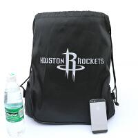 热火队训练勇士篮球包带侧兜装备大袋双肩篮足球袋库里背包束口袋 火箭 黑色篮球袋