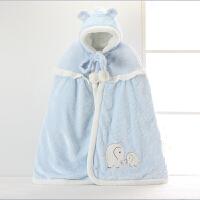 婴儿披风斗篷加厚秋冬款珊瑚绒新生幼儿童男女宝宝纯棉披肩外出服
