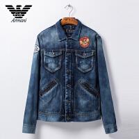 正品Armani阿玛尼 男士春季外套 休闲牛仔夹克徽章装饰 VMB18 7G