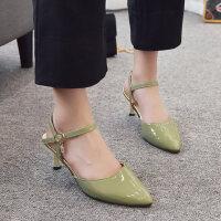 户外凉鞋女韩版女士单鞋时尚百搭尖头一字带浅口中跟鞋
