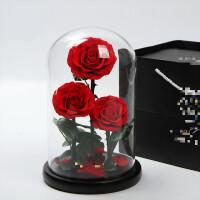 进口礼盒玻璃罩束保鲜小王子玫瑰花生日礼物送女友情人
