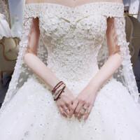 婚纱礼服新娘新款一字肩韩式长拖尾简约公主白纱新娘婚纱齐地