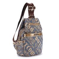 双肩包女包双肩布包韩版新款潮流时尚字母帆布女包背包旅行包小包 蓝布