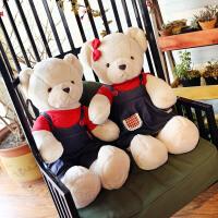 压床娃娃一对结婚毛绒玩具熊可爱创意牛仔泰迪熊情侣抱枕生日礼物